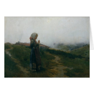 Oil Painting Young Girl Knitting Scenic Landscape Card