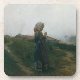 Oil Painting Young Girl Knitting Scenic Landscape Coasters