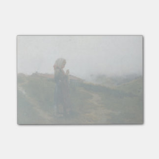 Oil Painting Young Girl Knitting Scenic Landscape Post-it® Notes