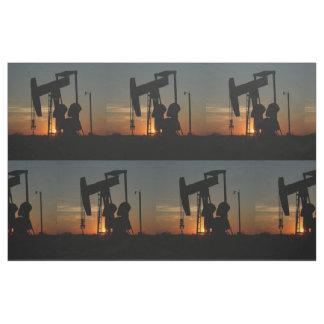 "Oil Pump Jack At Sunset 9"" Fabric"