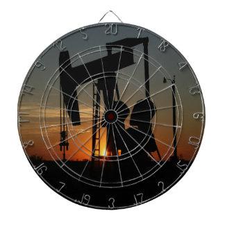 Oil Pump Jack At Sunset Dartboard