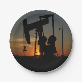 Oil Pump Jack At Sunset Party Plates