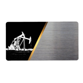 Oil Pumping Unit White, Black, Gold and Silver Shipping Label