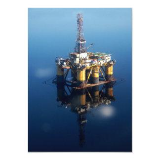 Oil Rig Platform Off Scotland Reflection Photo Card