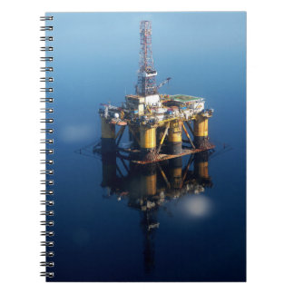 Oil Rig Platform Off Scotland Reflection Photo Spiral Notebook
