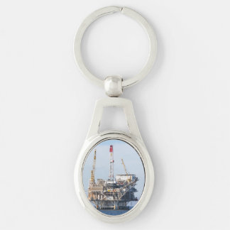 Oil Rig Silver-Colored Oval Keychain