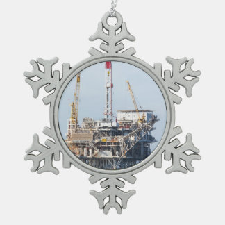 Oil Rig Snowflake Pewter Christmas Ornament
