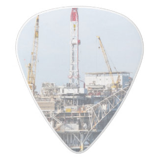 Oil Rig White Delrin Guitar Pick