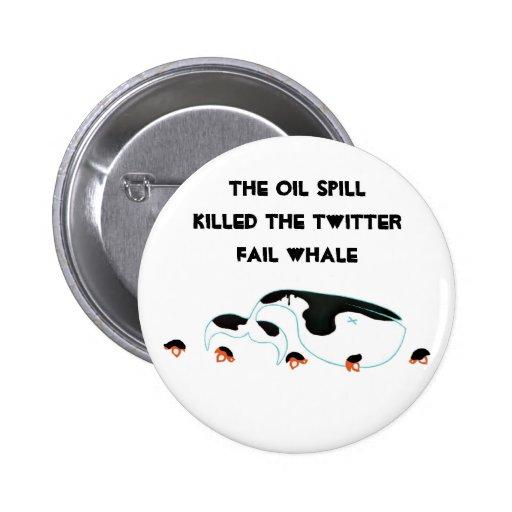 Oil spill twitter whale pinback button