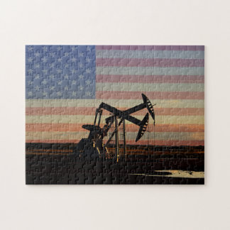 Oil Well and American Flag Jigsaw Puzzle