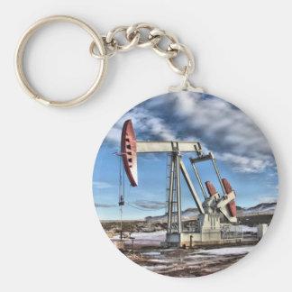 Oil Well Basic Round Button Keychain
