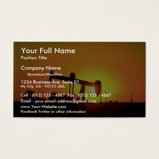 Oil well pump at sunset, Illinois, U.S.A. Business Card