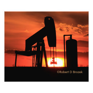 Oil Well Pump Sunset Silhouette Photo Enlargement