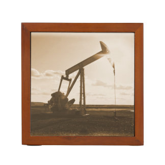 Oil Well Pumping at Sunset (Sepia Tone) Desk Organizer