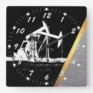 Oil Well Site Square Wall Clock