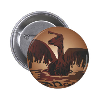 oiled brown pelican- 2 inch round button