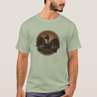 oiled brown pelican-rvsddrkbkgrnd T-Shirt
