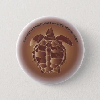 Oiled Kemp's Ridley Sea Turtle 2 Inch Round Button