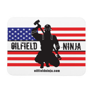 Oilfield Ninja flex magnet w/ US flag