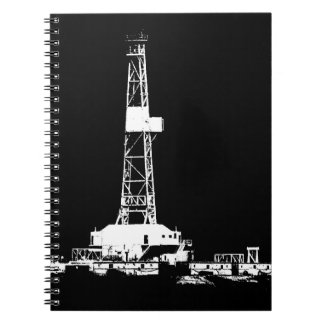 Oilfield Oil Drilling Rig Silhouette Notebook