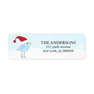 Oiseau avec des étiquettes de chapeau de Père Noël Étiquette D'adresse Retour