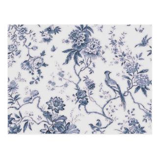 Oiseau bleu et blanc vintage mignon floral carte postale
