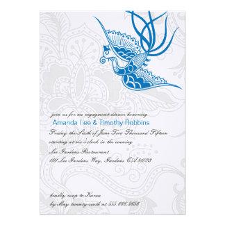 Oiseau bleu et invitation floral de partie de fian