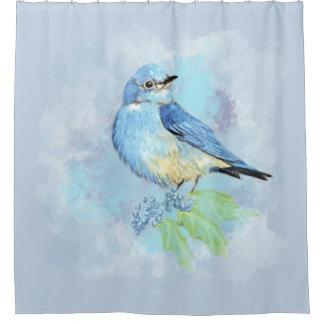 Oiseau de jardin d'oiseau bleu d'aquarelle et de
