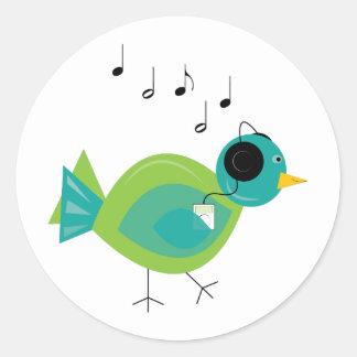 Oiseau de musique sticker rond