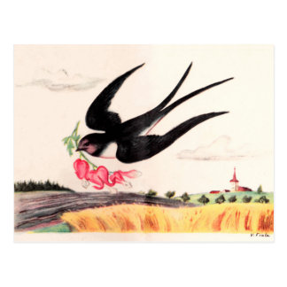 Oiseau de vol avec des fleurs carte postale