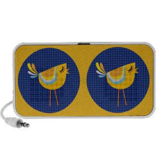 Oiseau jaune d art populaire mignon haut-parleur iPod