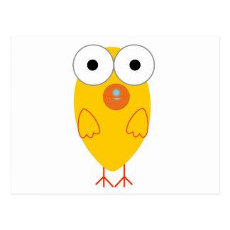 Oiseau jaune drôle cartes postales