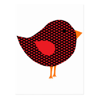 Oiseau rouge de coeur cartes postales