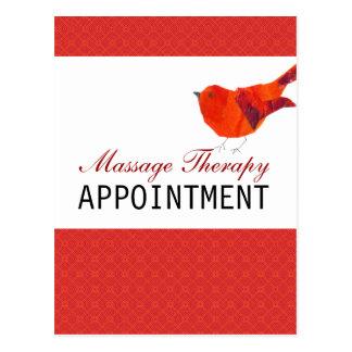 Oiseau rouge professionnel de thérapie de massage carte postale