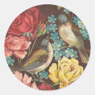 Oiseau vintage et autocollants roses