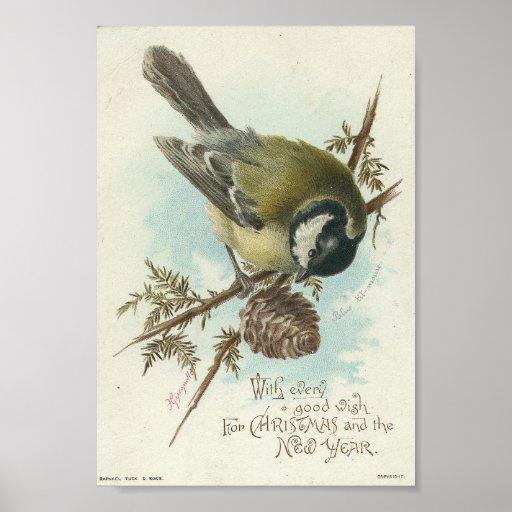 Oiseau vintage et Pinecone, Noël Affiches