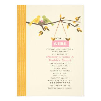 Oiseaux de maman et de papa de baby shower de carton d'invitation  13,97 cm x 19,05 cm