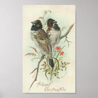 Oiseaux heureux d un cru de Christmastide Posters