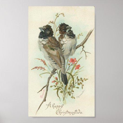 Oiseaux heureux d'un cru de Christmastide Posters