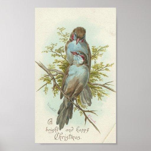 Oiseaux vintages de Noël Posters