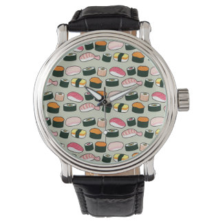 Oishii Sushi Fun Illustrations Pattern (Grey) Watch