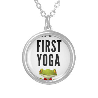 Ok But First Yoga Silver Plated Necklace