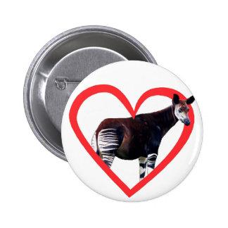 Okapi Heart 2 Inch Round Button