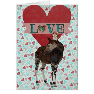 OKAPI & OWL Heart Valentine Card