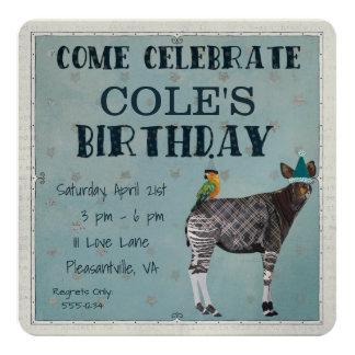OKAPI & PARROT  Birthday Invitation
