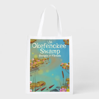 Okefenokee Swamp cartoon travel poster Reusable Grocery Bag