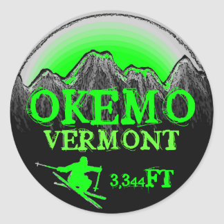 Okemo Vermont green ski art elevation stickers