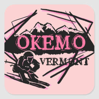 Okemo Vermont pink mountain ski stickers