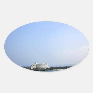 Okinawa sea and sky oval sticker