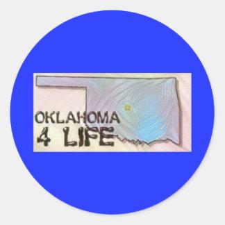 """Oklahoma 4 Life"" State Map Pride Design Classic Round Sticker"